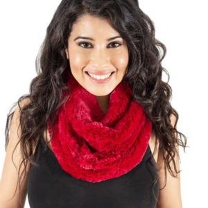 Red Faux Fur Neck Warmer Snood